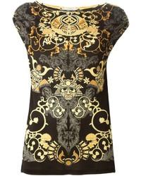 Blusa sin mangas estampada en negro y dorado de Versace