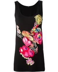 Blusa sin mangas estampada negra de Versace
