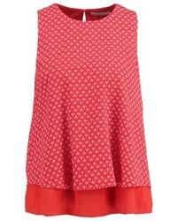 Blusa sin mangas estampada roja de Esprit
