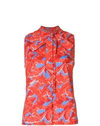 Blusa sin mangas estampada roja de MSGM