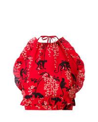 Blusa sin mangas estampada roja de RED Valentino