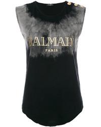 Blusa sin mangas negra de Balmain