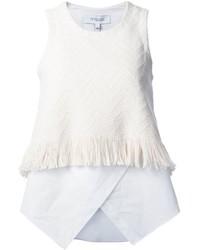 Blusa sin mangas сon flecos blanca de Derek Lam 10 Crosby