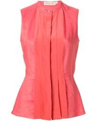 Blusa sin mangas plisada rosa de Tory Burch