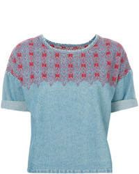 Blusa vaquera bordada celeste de Current/Elliott