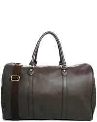 Bolsa de viaje de cuero en marrón oscuro de Asos