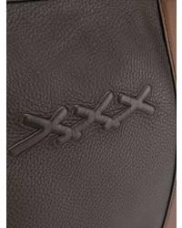 Bolsa de viaje de cuero en marrón oscuro de Ermenegildo Zegna