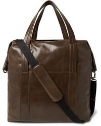 Bolsa de viaje de cuero en marrón oscuro de Maison Margiela