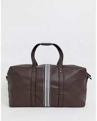 Bolsa de viaje de cuero en marrón oscuro de New Look