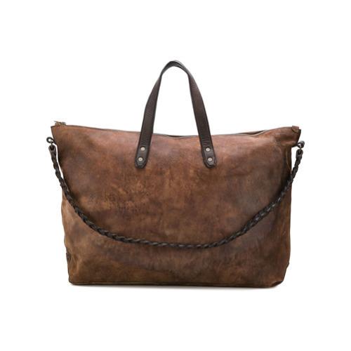 Bolsa de viaje de cuero marrón de Ajmone