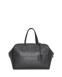 Bolsa de viaje de cuero negra de Burberry