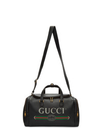 Bolsa de viaje de cuero negra de Gucci