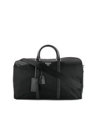 Bolsa de viaje de cuero negra de Prada