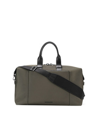 Bolsa de viaje de cuero verde oliva de Troubadour