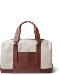 Bolsa de viaje de lona marrón de Brunello Cucinelli