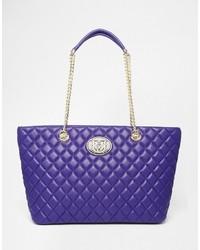 Bolsa tote acolchada en violeta de Love Moschino