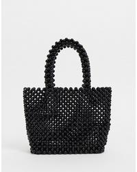 Bolsa tote con cuentas negra de New Look
