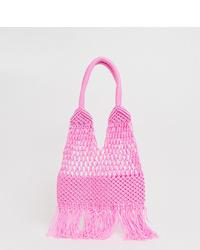 Bolsa tote de crochet rosada de Glamorous