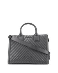 Bolsa tote de cuero acolchada en gris oscuro de Karl Lagerfeld