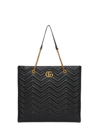 Bolsa tote de cuero acolchada negra de Gucci