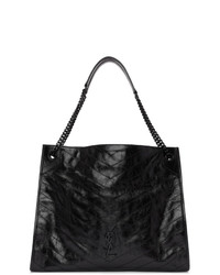 Bolsa tote de cuero acolchada negra de Saint Laurent