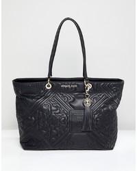 Bolsa Tote de Cuero Acolchada Negra de Versace Jeans