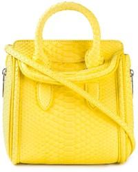 Bolsa tote de cuero amarilla de Alexander McQueen