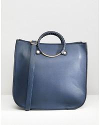 Bolsa tote de cuero azul marino de Yoki Fashion