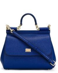 Bolsa tote de cuero azul de Dolce & Gabbana