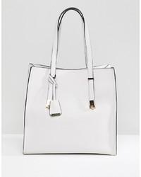 Bolsa tote de cuero blanca de Glamorous