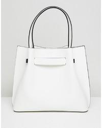 Bolsa tote de cuero blanca de New Look
