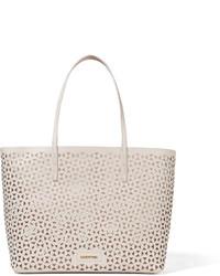 Bolsa tote de cuero con estampado geométrico blanca de Elizabeth and James