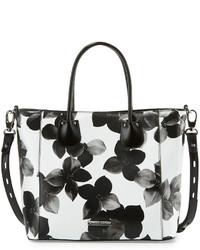 Bolsa tote de cuero con print de flores blanca