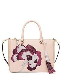 Bolsa tote de cuero con print de flores en beige