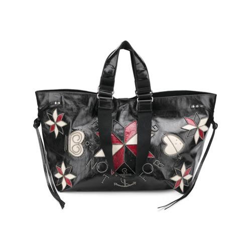 Bolsa tote de cuero con print de flores negra de Isabel Marant