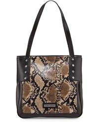 Bolsa tote de cuero con print de serpiente marrón