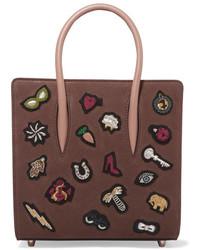 Bolsa tote de cuero con relieve marrón de Christian Louboutin