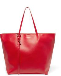 Bolsa tote de cuero con relieve roja de Alexander McQueen