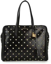 Bolsa tote de cuero con tachuelas en negro y dorado