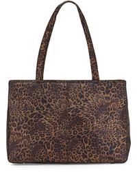 Bolsa tote de cuero de leopardo en marrón oscuro
