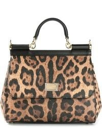 Bolsa tote de cuero de leopardo marrón de Dolce & Gabbana