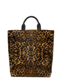 Bolsa tote de cuero de leopardo marrón de Dries Van Noten