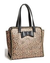 Bolsa Tote de Cuero de Leopardo Negra y Marrón Claro