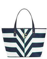 Bolsa tote de cuero de rayas horizontales en azul marino y blanco