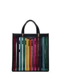 Bolsa tote de cuero de rayas verticales en multicolor de Anya Hindmarch