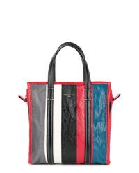 Bolsa tote de cuero de rayas verticales en multicolor de Balenciaga