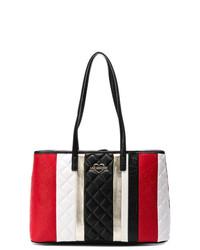 Bolsa tote de cuero de rayas verticales en multicolor de Love Moschino