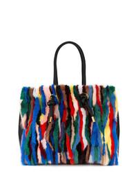Bolsa tote de cuero de rayas verticales en multicolor de Marni