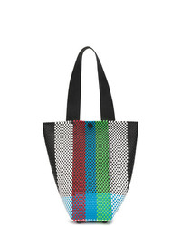 Bolsa tote de cuero de rayas verticales en multicolor de Truss Nyc