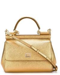 Bolsa tote de cuero dorada de Dolce & Gabbana